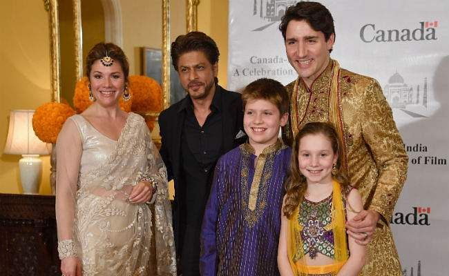 Justin Trudeau and family with Shah Rukh Khan