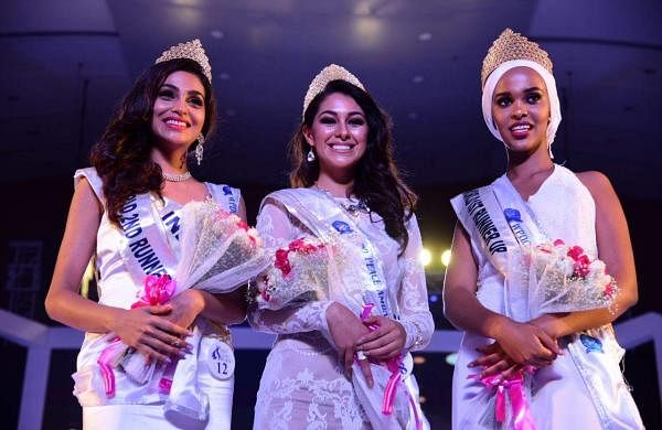 Winner of Indulge Miss Glam World 2018, Mexico's Estefania Chavez Garcia along with first runner-up winner Fahima Kulow Muhumed Abdi from Kenya and India's Aileen Catherin Amon as the third runner-up.