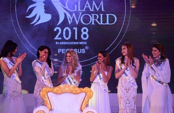 Estefania Chavez Garcia from Mexico reacts after being announced as the winner of Indulge Miss Glam  World 2018.