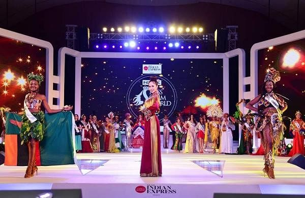 All the models at Indulge Miss Glam World take to the ramp in their traditional attire.
