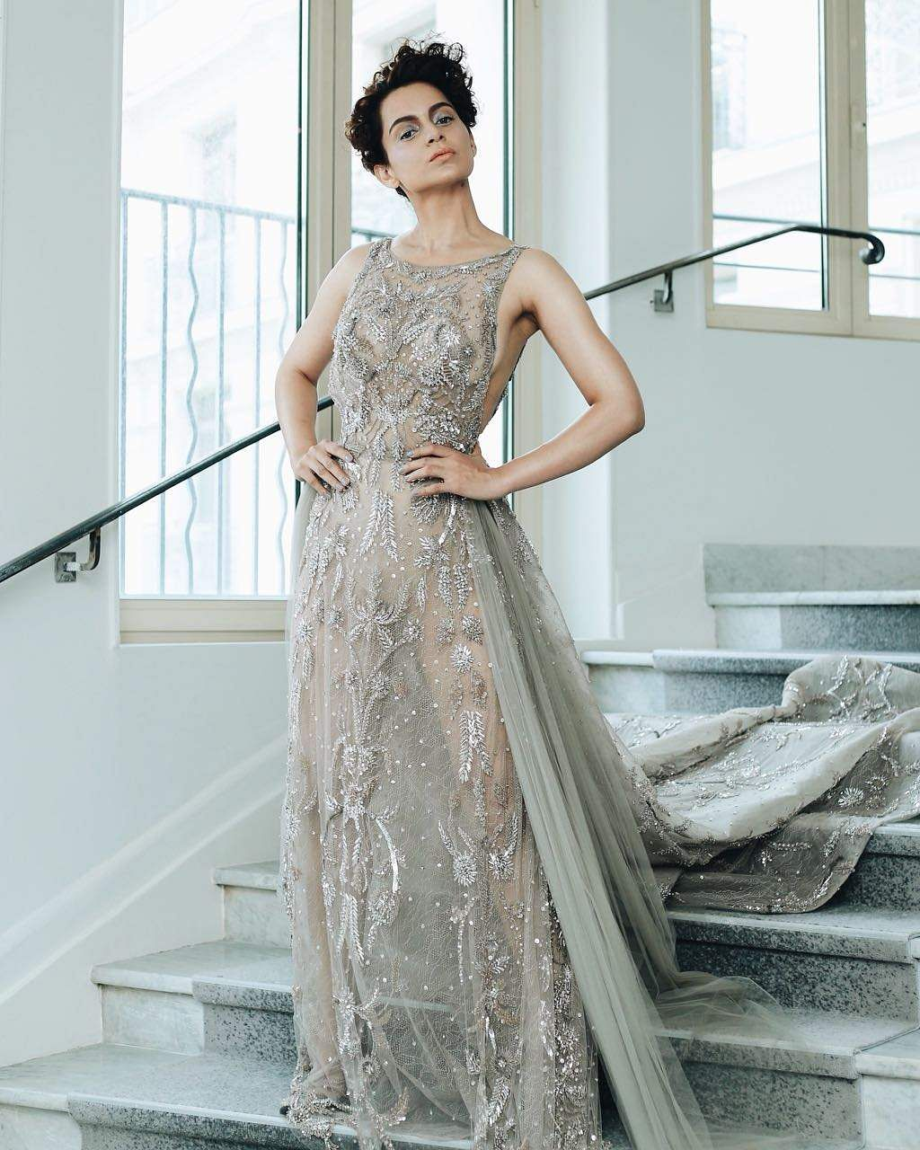 For her second appearance Kangana Ranaut chose to wear a Zuhair Murad Gown at Cannes 2018