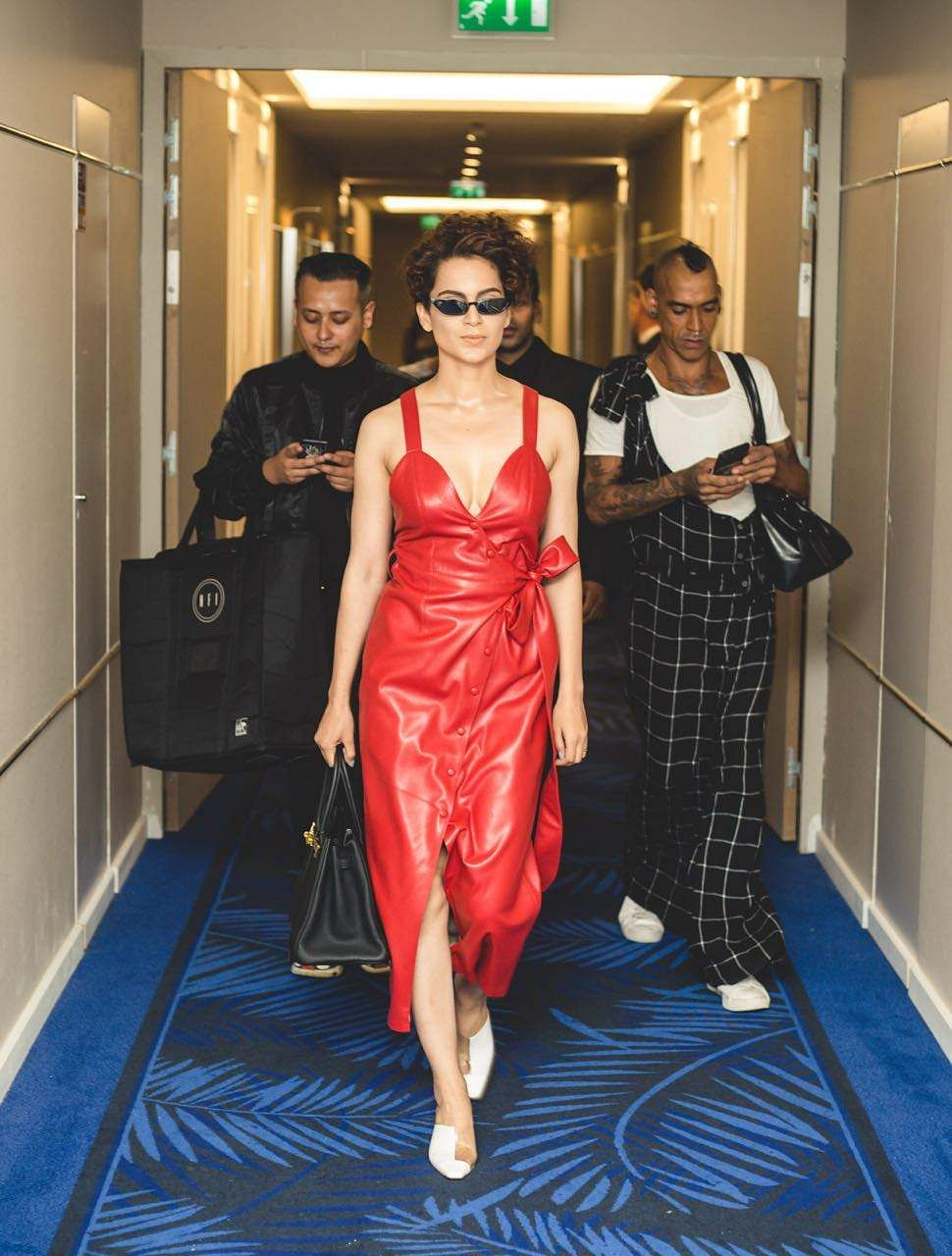 Kangana Ranaut is wearing a dress by Nanushka, her shoes are from Neous and her sunglasses are from Poppy Lissiman #GreyGooseLife #ViveLaCinema #Cannes2018 #QueenAtCannes