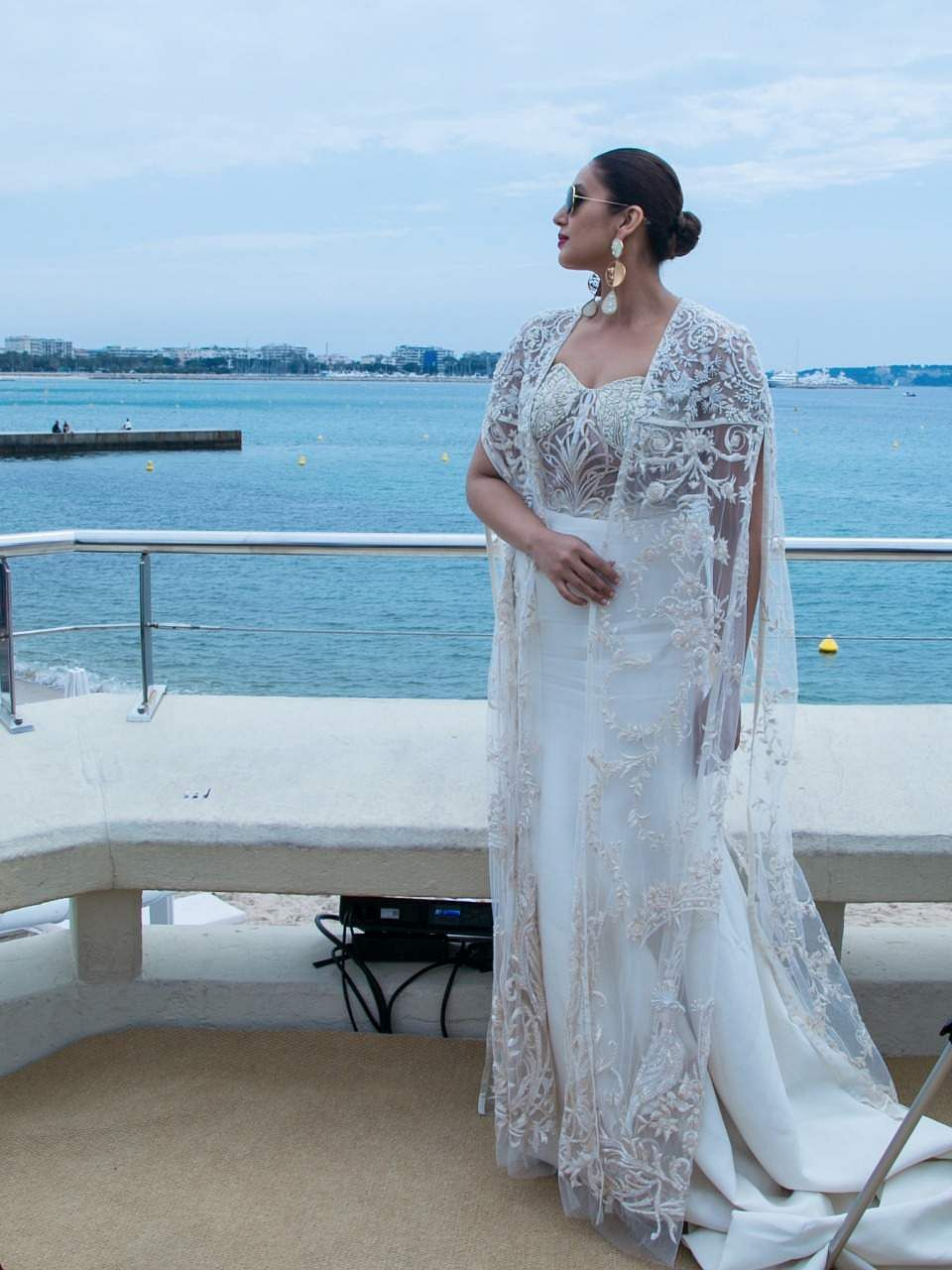 Huma Qureshi looked like a dream in a white gown designed by Varun Bahl at Cannes 2018