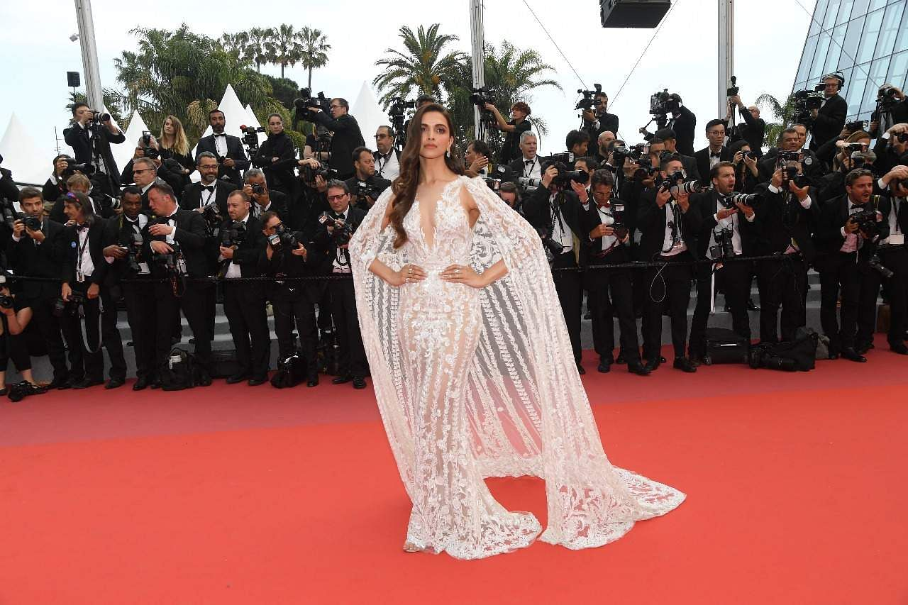 Deepika Padukone let her her hair lose and looked beautiful in a gown designed by Zuhair Murad