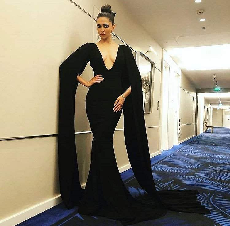 Deepika Padukone wore a beautiful black Marcell von Berlin gown for the Chopard party