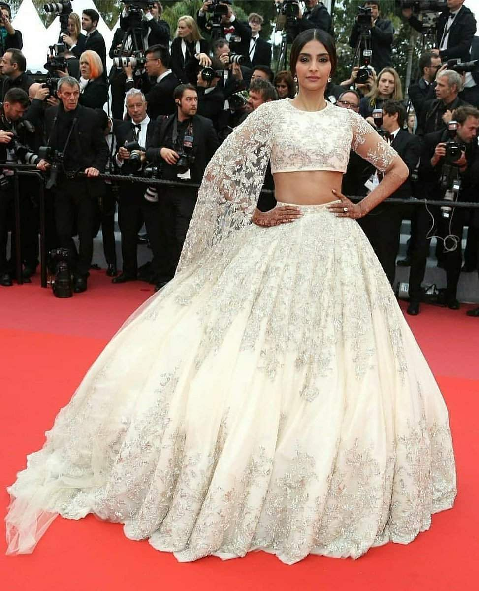 Sonam Kapoor in an off-white, embellished lehenga by Ralph and Russo