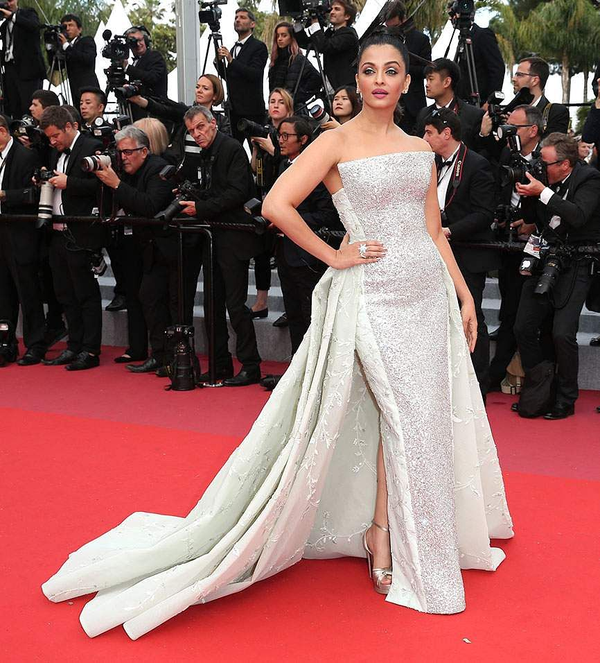 Aishwarya Rai Bachchan poses for photographers upon arrival at the premiere of the film 'Sink or Swim' at the 71st international film festival, Cannes, southern France, Sunday, May 13, 2018