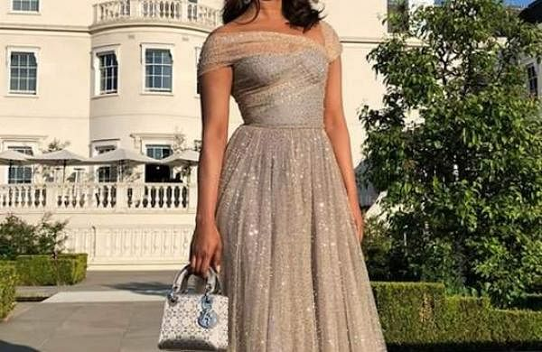 Priyanka Chopra in D'or gown at Prince Harry and Meghan Markle's royal wedding reception.