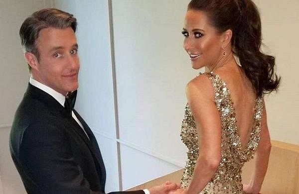 Jessica Mulroney looks stunning in a gold, embellished gown for the private evening reception.