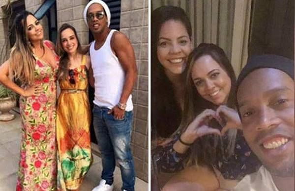 Ronaldinho with Priscilla Coelho and Beatriz Souza