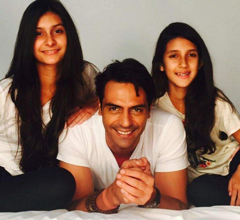 Arjun Rampal with daughters Mahikaa Rampal and Myra Rampal