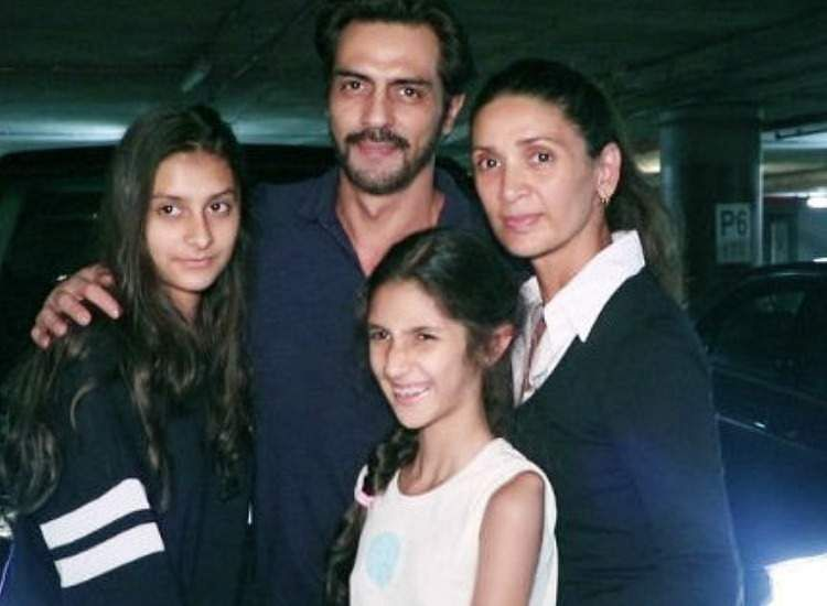 Arjun Rampal and Mehr Jessia with daughters Mahikaa Rampal and Myra Rampal