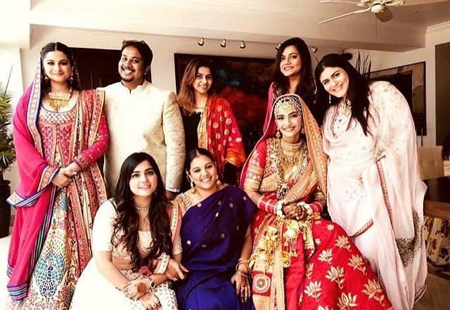 Sonam Kapoor takes a photo with close friends and family