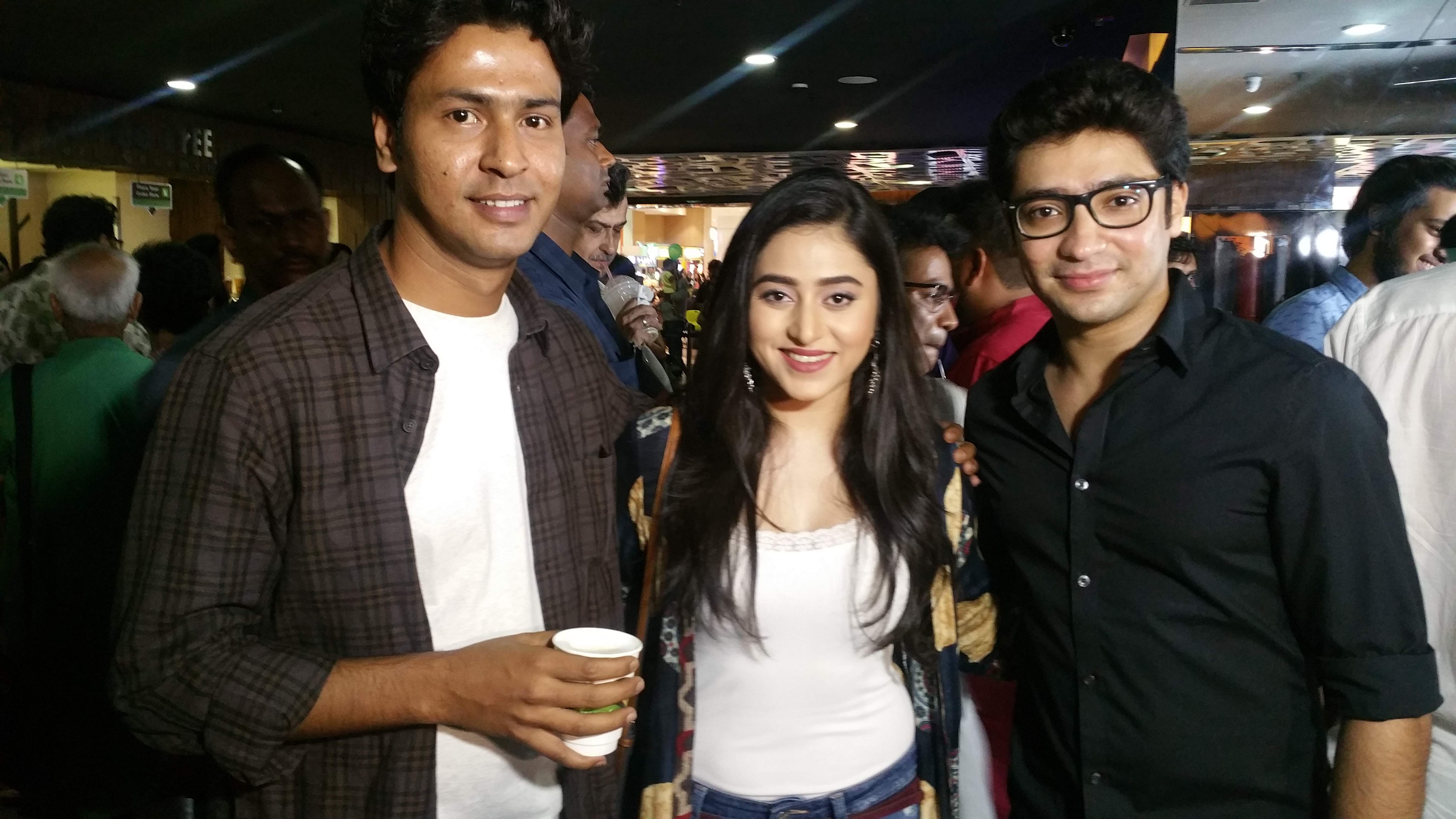 Actors Anirban Bhattacharya, Ridhima Ghosh and Gaurav Chakrabarty at the screening. Bhattacharya has given a stellar performance in the movie.