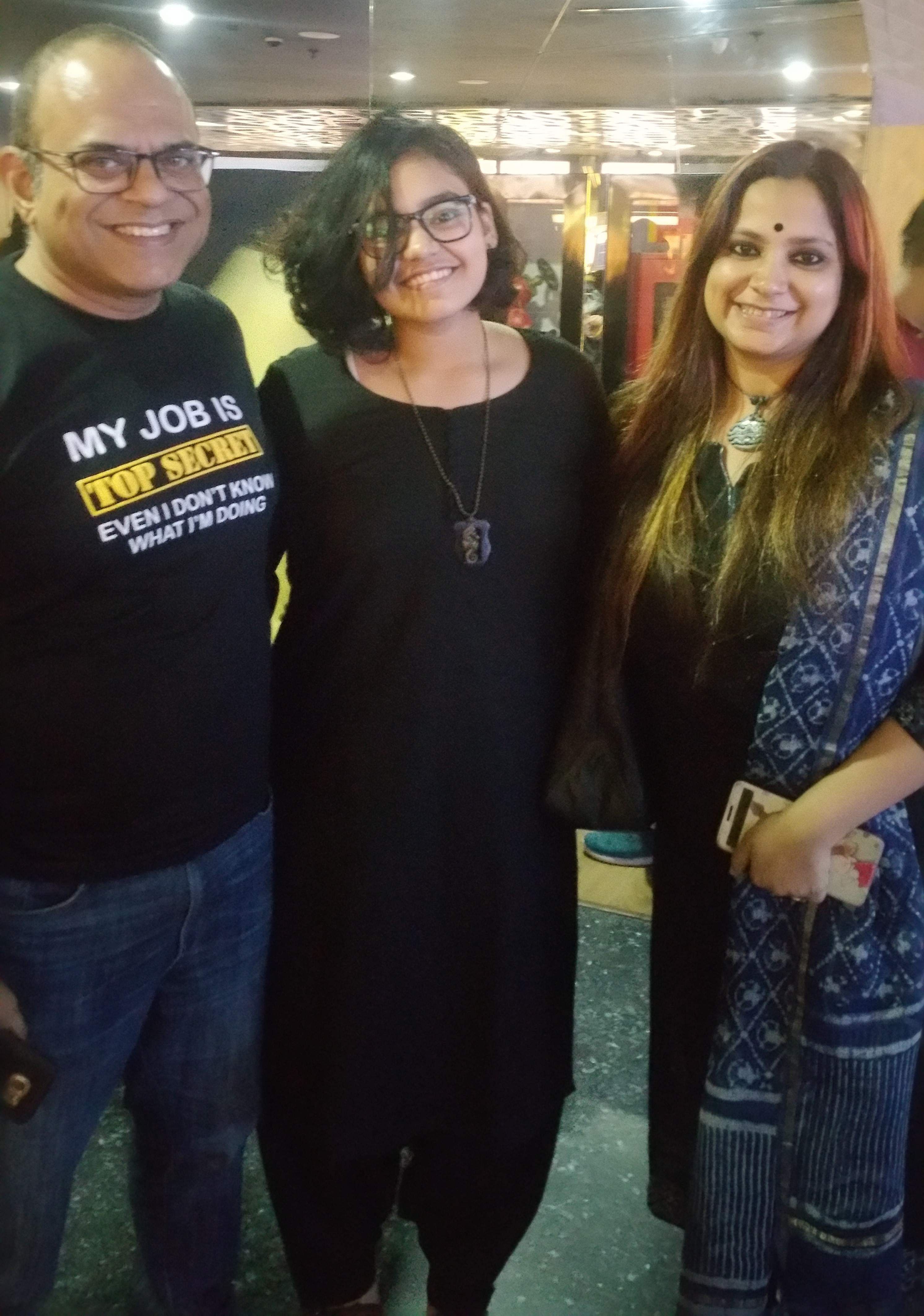 Actor Rajatava Dutta with daughter Bristisnata and wife Soma Dutta.