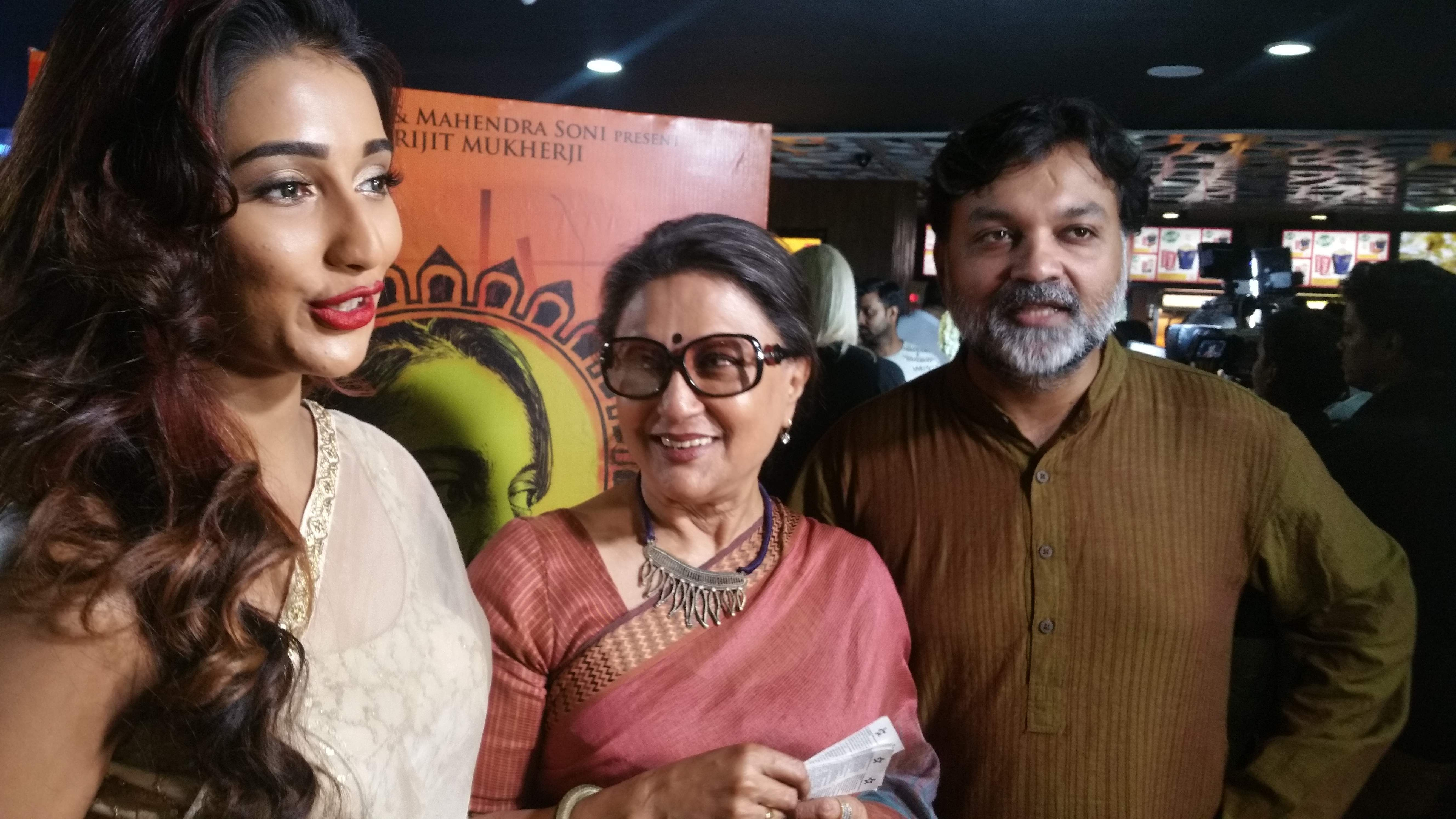 Actor Sayantika Banerjee, who acted in the film, along with directors Aparna Sen and Srijit Mukherji.