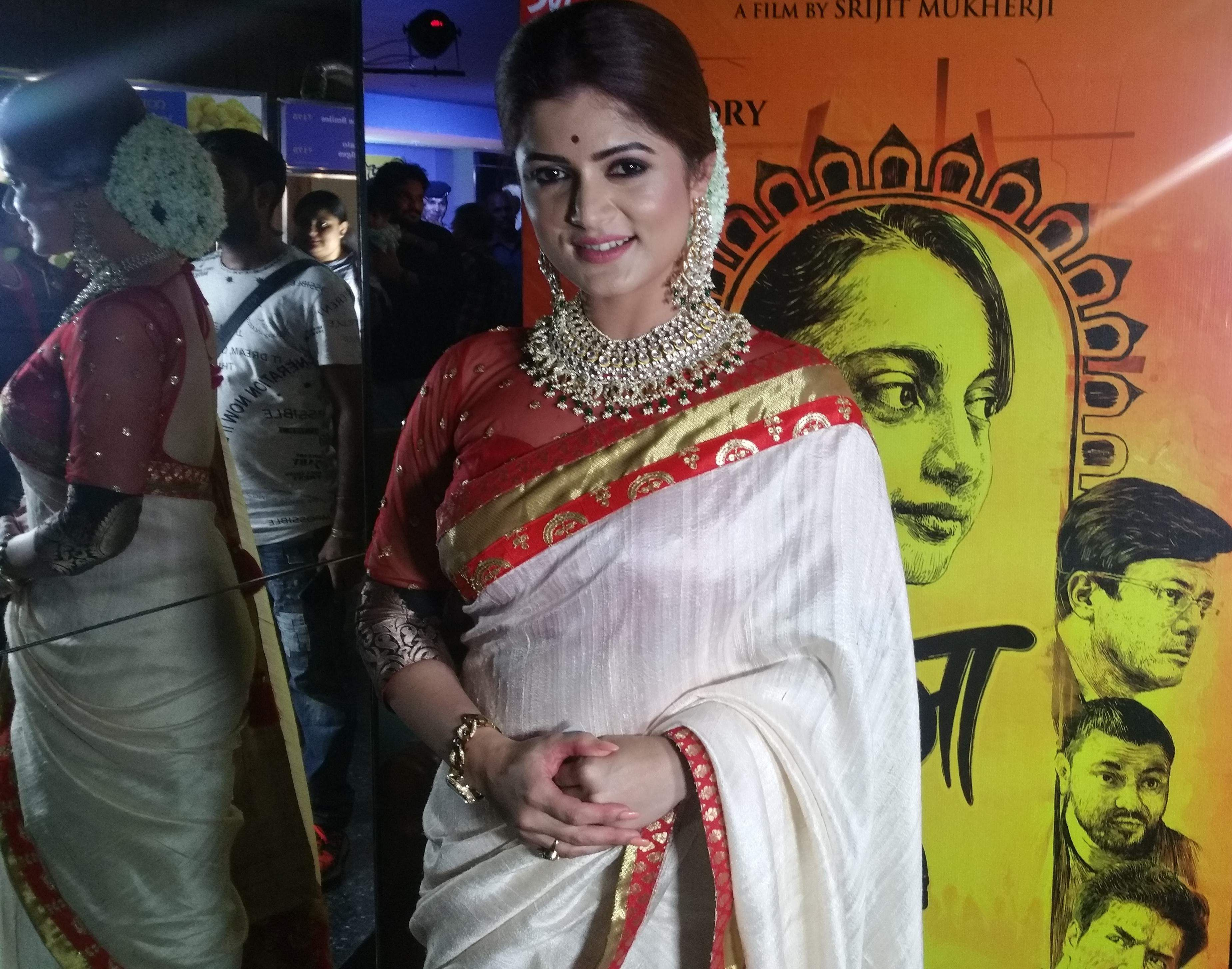 Actor Srabanti Chatterjee at the screening.