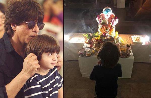 Shah Rukh Khan trolled for posting photo of AbRamKhan worshipping lord Ganesha