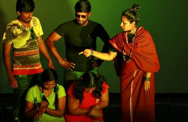 A scene from rehearsals of Chakravyuh