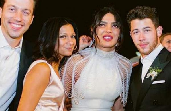 Priyanka Chopra and Nick Jonas with friends and family