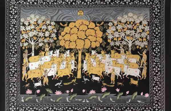 Gopasthami,_Deccan_Miniature,_Silver_Gold_Leaf_on_Basli,13x15_inch