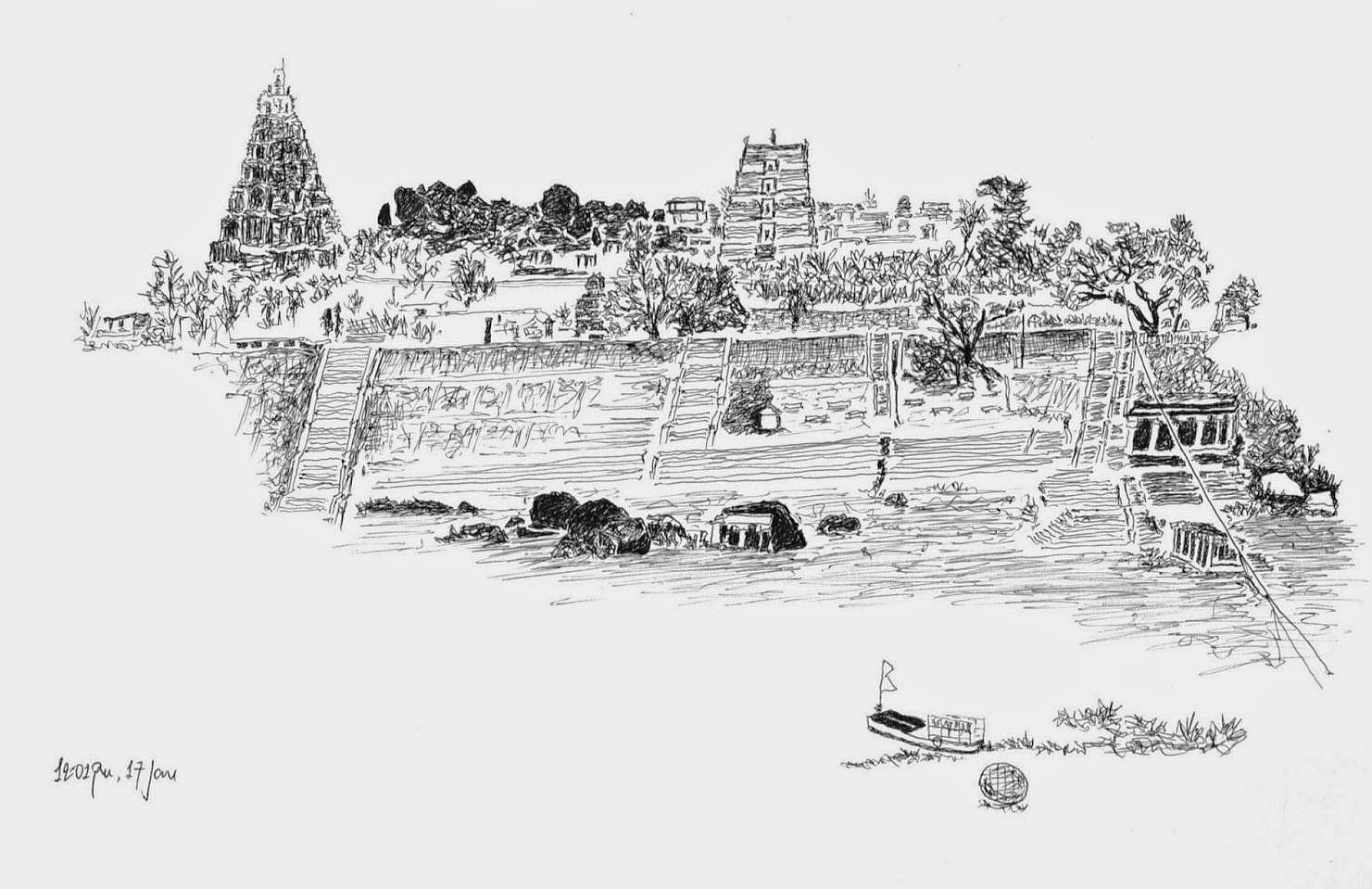 A view of Hampi (Illustration by Jaideep Sen)