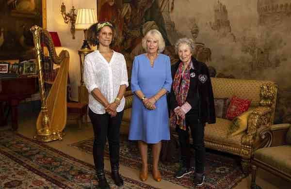 Camila The Duchess of Cornwall with Margaret Atwood and Bernardine Evaristo (Aaron Chown/PA via AP)
