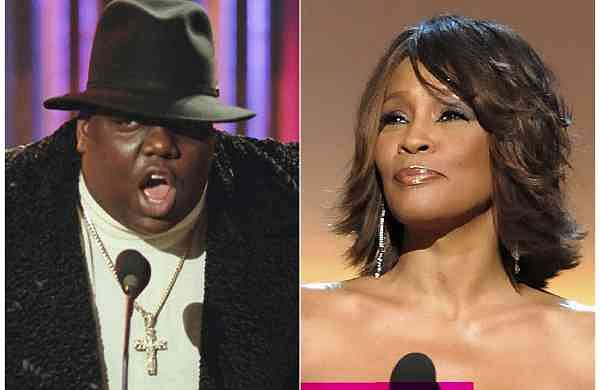 Notorious B.I.G. and Whitney Houston (AP Photo)