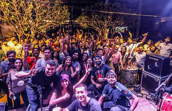 Ajay with guests and performers at Indiepalooza Music Festival. Picture: Shitabh