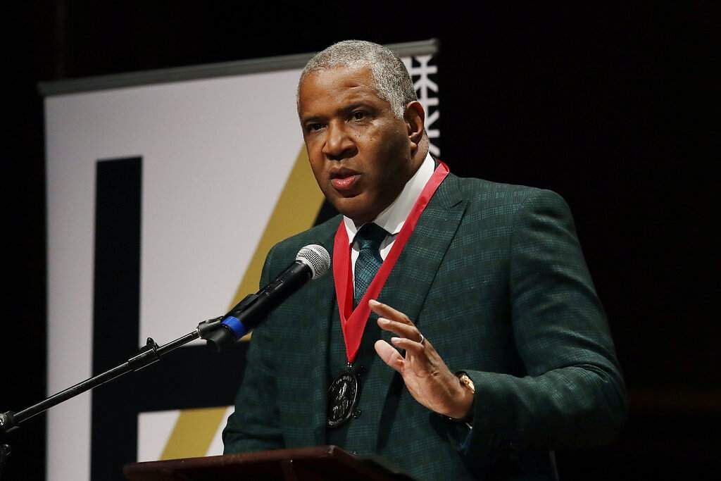 Billionaire businessman Robert F Smith speaks after receiving the W.E.B. Dubois Medal for contributions to black history and culture at Harvard University. (AP Photo/Elise Amendola)