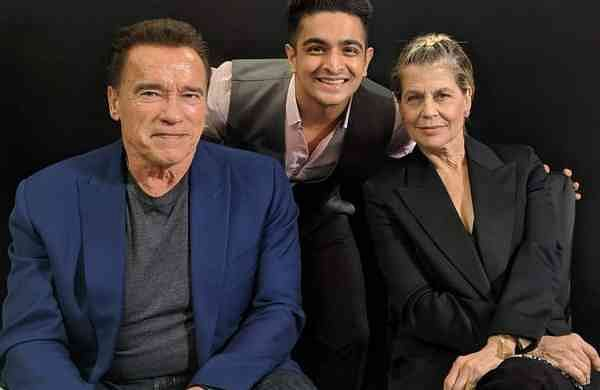 Arnold Schwarzenegger, Ranveer Allahbadia and Linda Hamilton (Photo: IANS)