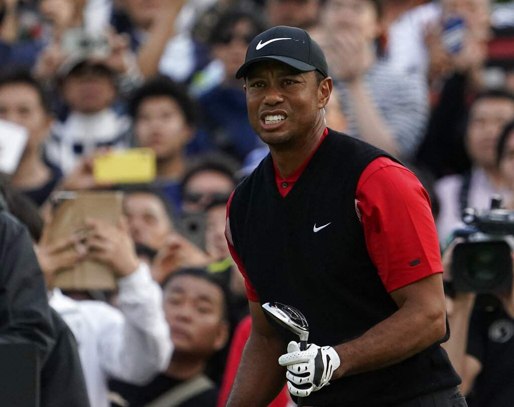 Tiger Woods watches his tee shot during the final round of the Zozo Championship PGA Tour at the Accordia Golf Narashino country club in Inzai, Japan. (AP Photo/Lee Jin-man)