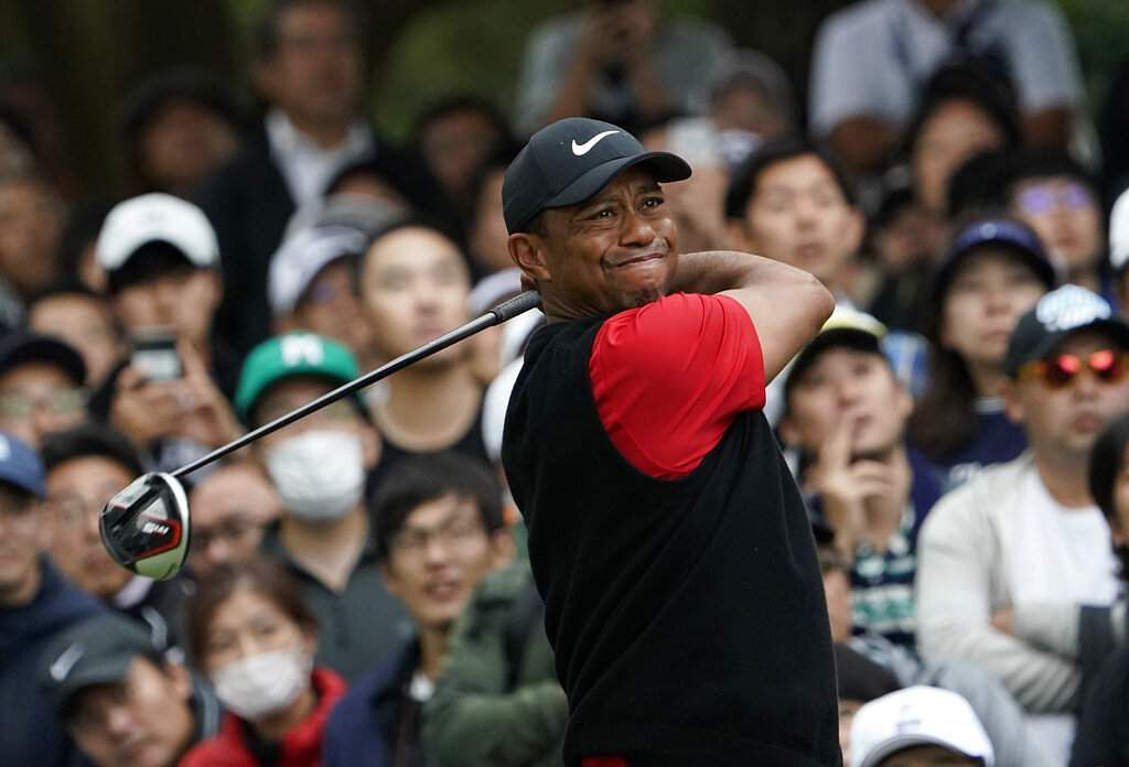 Tiger Woods reacts after a putt during the final round of the Zozo Championship PGA Tour at the Accordia Golf Narashino country club in Inzai, Japan. (AP Photo/Lee Jin-man)