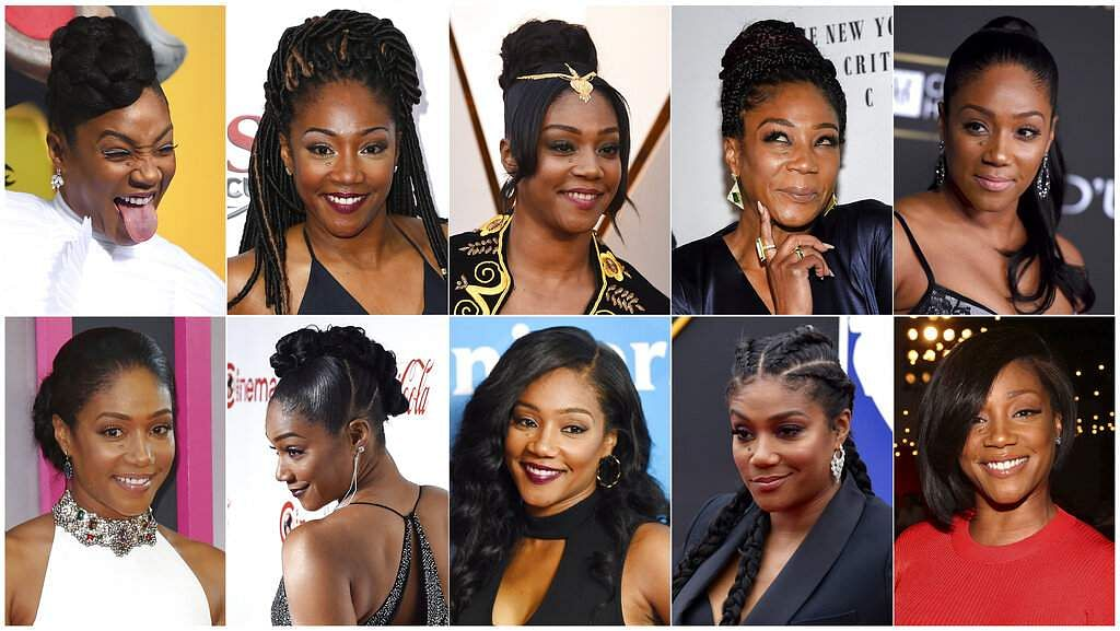 This combination photo shows various hairstyles worn by actress-comedian Tiffany Haddish (AP Photo)