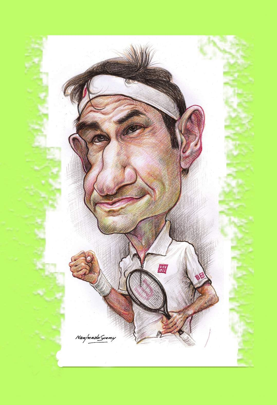 Roger Federer. A caricature by YS Nanjunda Swamy at an exhibition being hosted by The Indian Institute of Cartoonists, Bengaluru from 9th to 23rd November 2019.