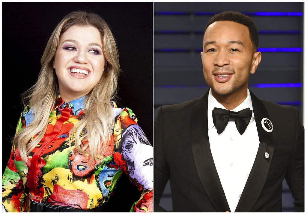 This combination photo shows singer and talk show host Kelly Clarkson and singer John Legend (AP Photo)