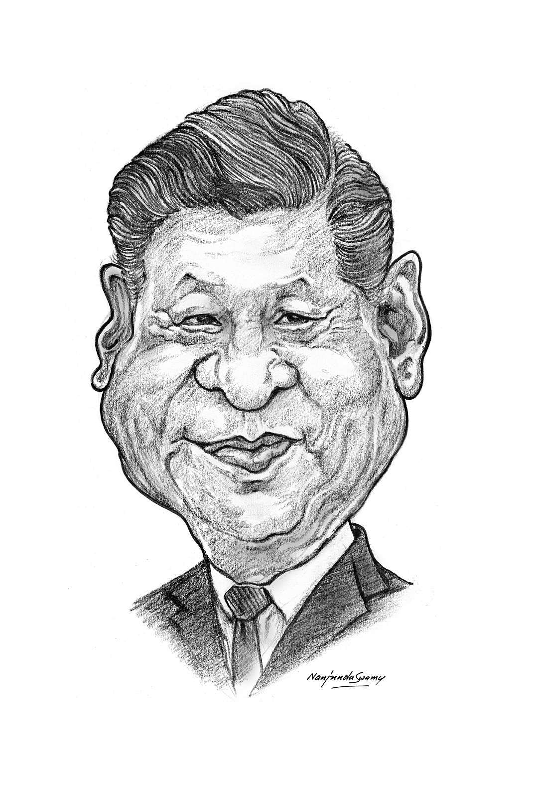 Xi Jinping. A caricature by YS Nanjunda Swamy at an exhibition being hosted by The Indian Institute of Cartoonists, Bengaluru from 9th to 23rd November 2019.