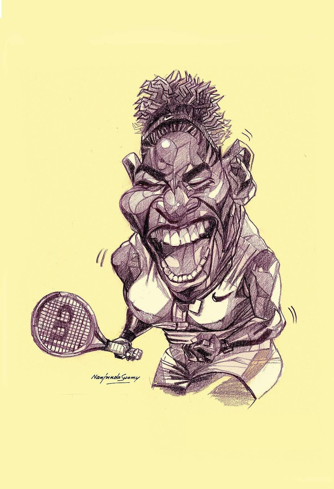 Serena Williams. A caricature by YS Nanjunda Swamy at an exhibition being hosted by The Indian Institute of Cartoonists, Bengaluru from 9th to 23rd November 2019.