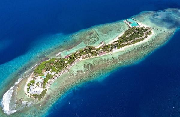 In pics: A dream island getaway to the diver's paradise of OBLU by Atmosphere at Helengeli, Maldives. An aerial view of Helengeli Island, Maldives.