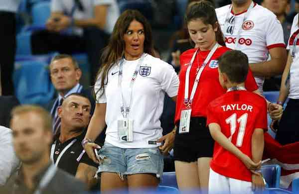 File photo: Rebekah Vardy, wife of Jamie Vardy at the 2018 World Cup (AP Photo/Frank Augstein)