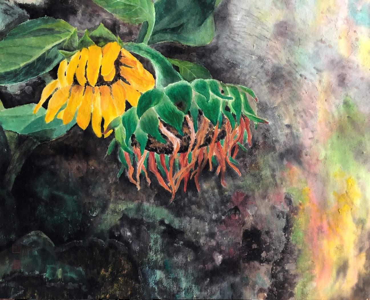 'Sunflower' by Kim, Oksuk at the exhibition Healing Strokes at InKo Centre, Chennai.