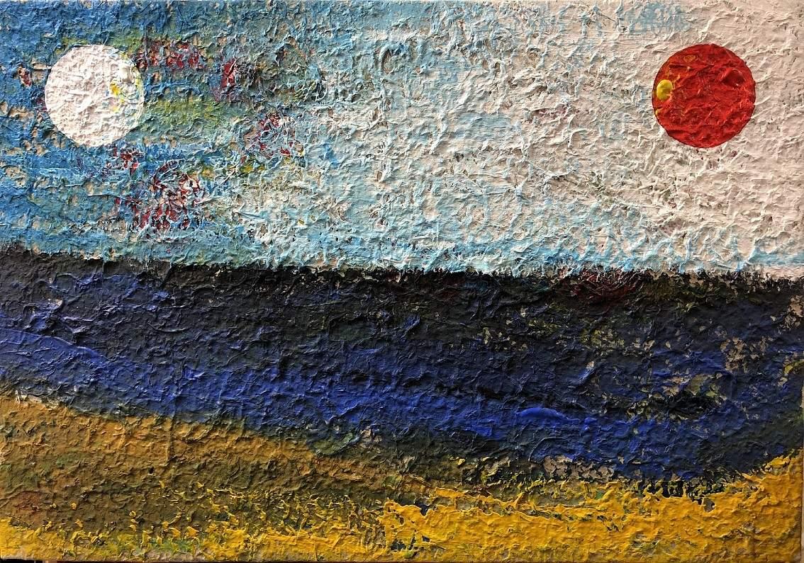 'Two Sun' by Kim, Oksuk at the exhibition Healing Strokes at InKo Centre, Chennai.