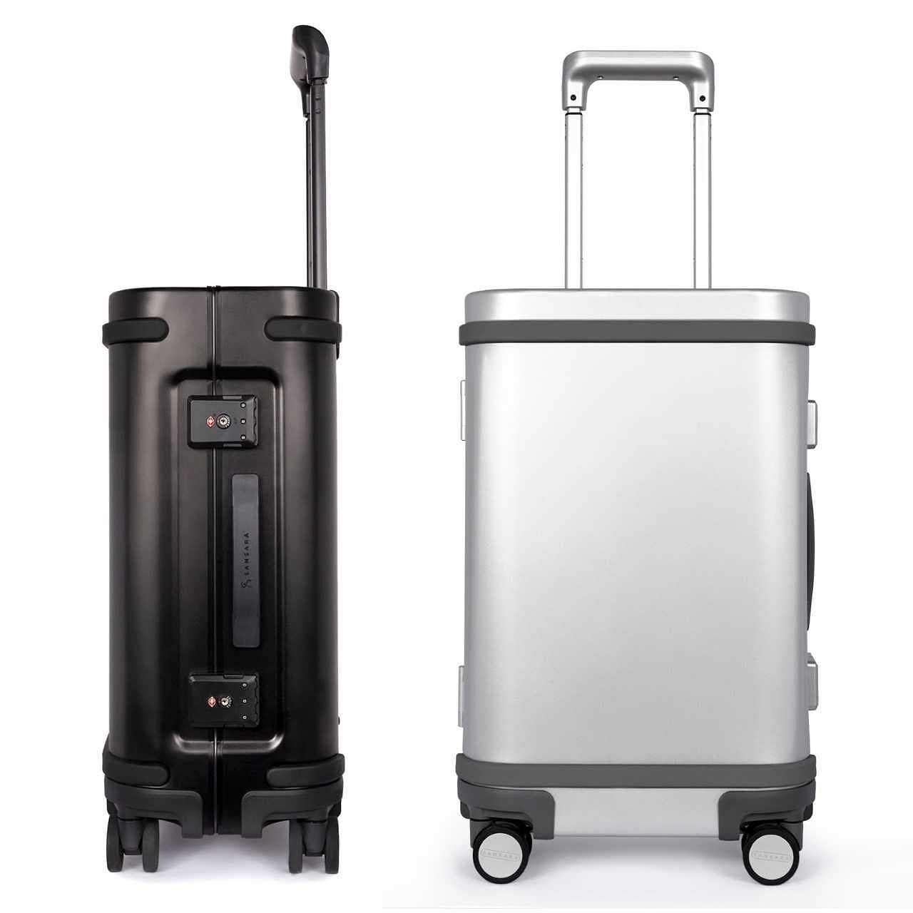 Samsara Luggage: A smart piece of TSA-approved luggage, made of light aluminium, connects to a mobile app. Carry-on has USB C ports and charging unit. With an LED light inside! INR 32,000.