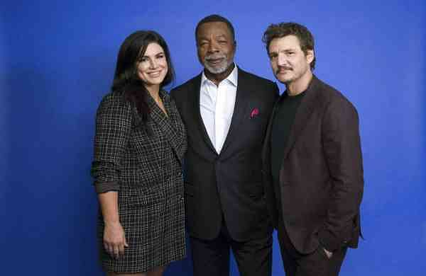 From left, Gina Carano, Carl Weathers and Pedro Pascal at the Disney Plus launch event promoting The Mandalorian (Photo by Mark Von Holden/Invision/AP)