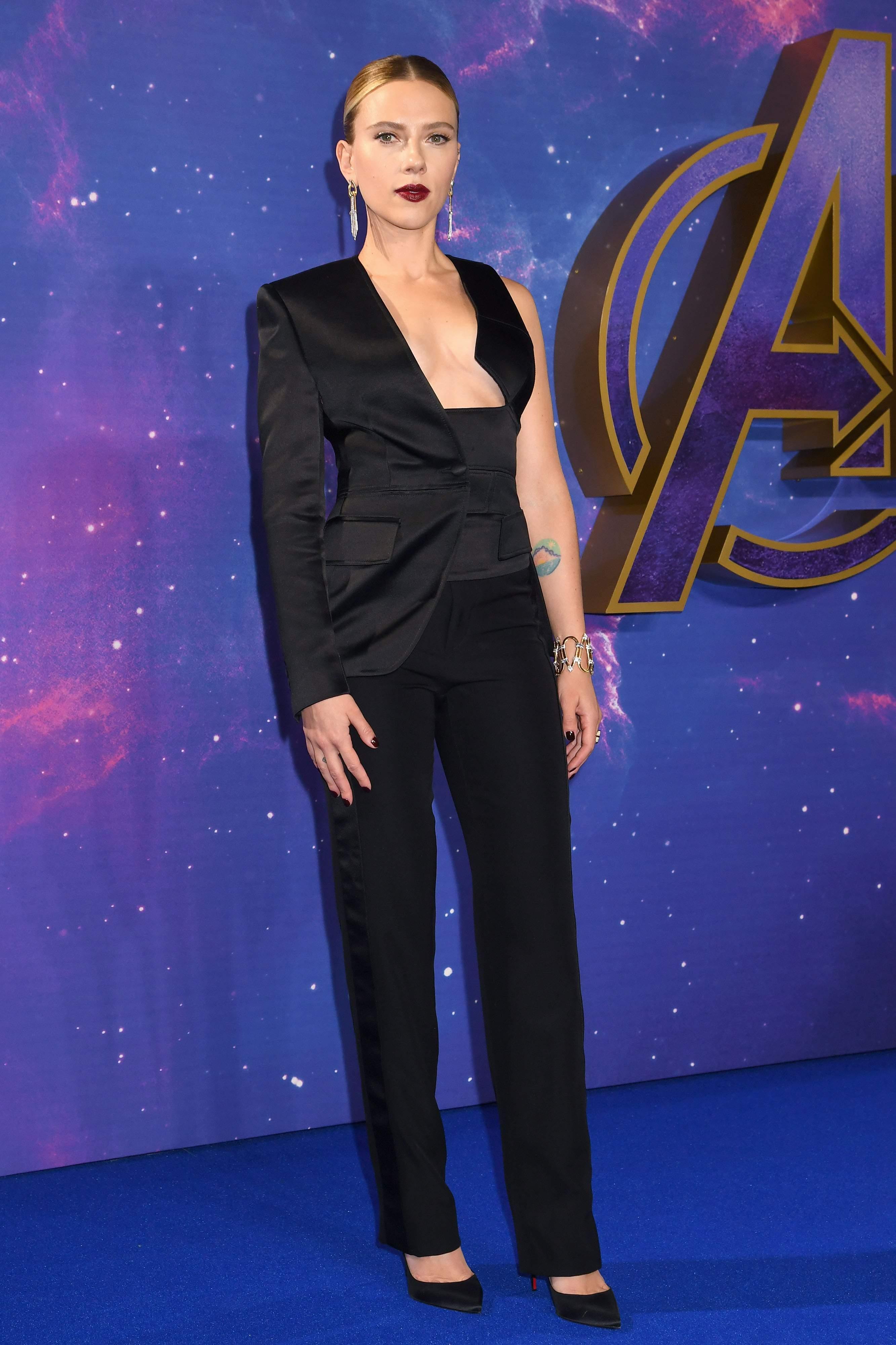 Attending a London Avengers: Endgame event in a sleek Tom Ford ensemble.