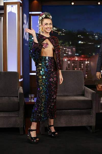 On Jimmy Kimmel Live, Miley wore an embellished outfit that she bought on Hollywood Boulevard with some sequined pasties