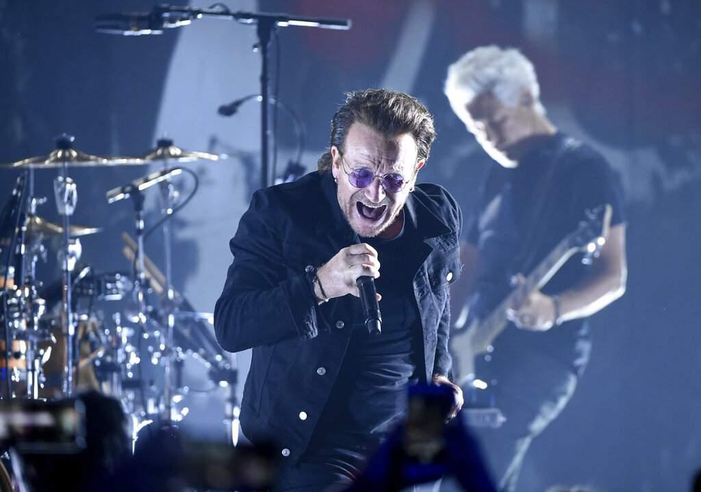 U2 at the Apollo Theater, New York (Photo by Evan Agostini/Invision/AP)