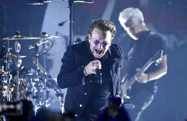 U2 at the Apollo Theater, New York (Photo by Evan Agostini/Invision/AP)