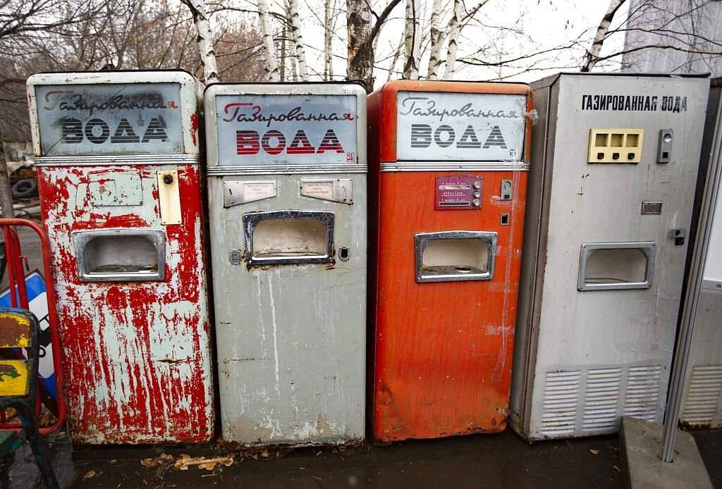 Soviet-era soda vending machines at the Museum of Industrial Culture in a dilapidated industrial zone of Moscow, Russia. (AP Photo/Alexander Zemlianichenko)