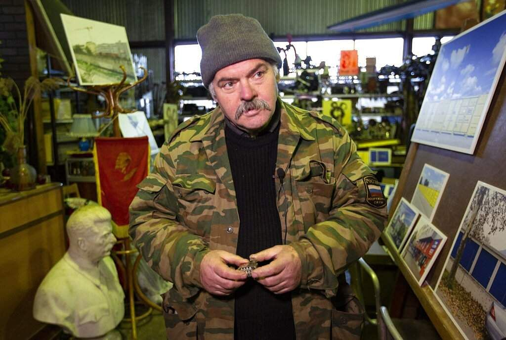 Lev Zheleznyov, director of the Museum of Industrial Culture. Moscow's suburbs are the focus of a new exhibition that has just opened in the Russian capital. (AP Photo/Alexander Zemlianichenko)